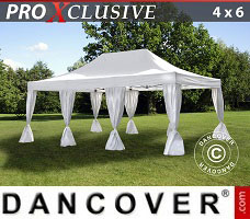 Carpa para fiestas 4x6m Blanco, incl. 8 cortinas decorativas