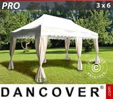 Carpa para fiestas 3x6m Blanco, incl. 6 cortinas decorativas