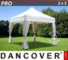 Carpa para fiestas 3x3m Blanco, incl. 4 cortinas decorativas