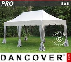 Carpa para fiestas 3x6m Latte, incl. 6 cortinas decorativas
