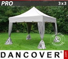 Carpa para fiestas 3x3m Latte, incl. 4 cortinas decorativas